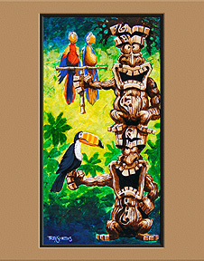 """Tikis in Parrot-Dise"" art print by Trey Surtees"